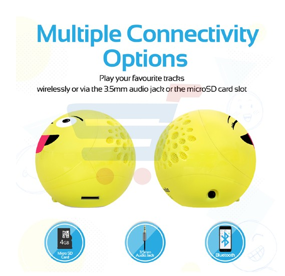 Promate Portable Bluetooth Speaker, Cute Emoji Wireless Bluetooth Speaker with Stereo Sound, Built-in Mic, Micro SD Card and AUX-In Slot for iPhone, iPad, iPod, Tablets, Promate GROOVOJI