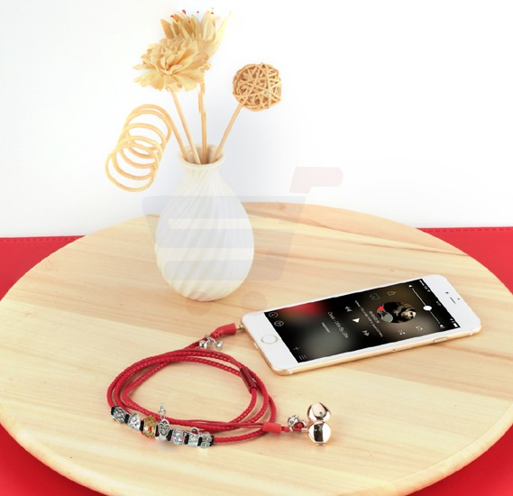 Promate Stereo Earphone, Leather Braided Special Beads Bracelet Style with Magnetic Closure, Built-In Mic, Passive Noise Cancelling and Tangle Free Cord for Smartphones, Tablets, iPod, MP3, Laptop, Vogue-2.Red