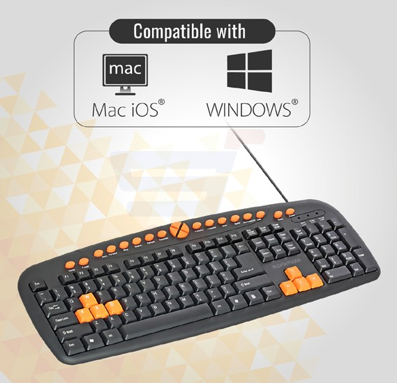 Promate Multimedia Keyboard, Ergonomic Multimedia Keys Keyboard with Swappable Gaming Keys and 10 Million Keystroke Quiet Keys for Gaming, Laptops, PC, iMac, Alienware, ASUS, EASYKEY-2.BL/E