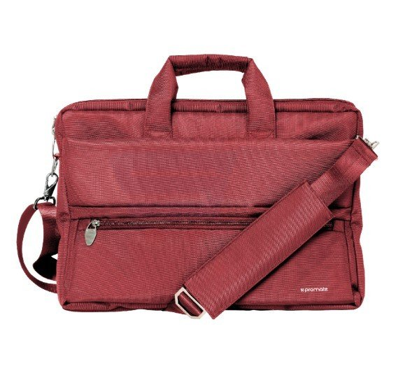 Promate Messenger Bag Laptop, Multifunction Shoulder Messenger Bag with Multiple Storage Pocket, Detachable Sling and Water-Resistance Laptop Bag for 15.6 Inch Laptops, Tablet, Document, Apollo-MB Red