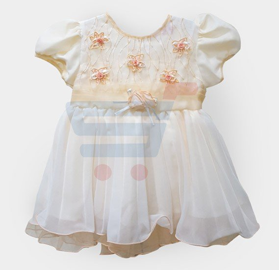 Kids Frock Party Wear White with Orange - Size 17
