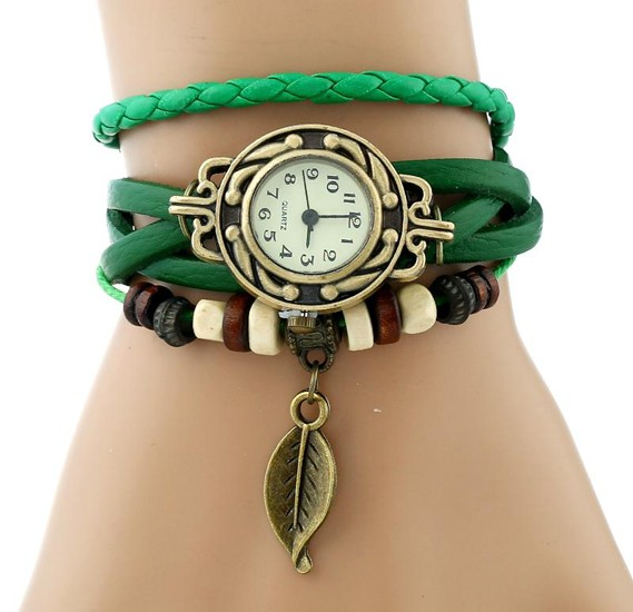 Set of 5 Pieces students Vintage Bracelet Leaf Wristwatches assorted color