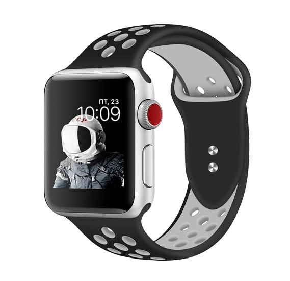 Promate Oreo-38ML Silicone Apple Watch 38mm/40mm Strap, Black/White