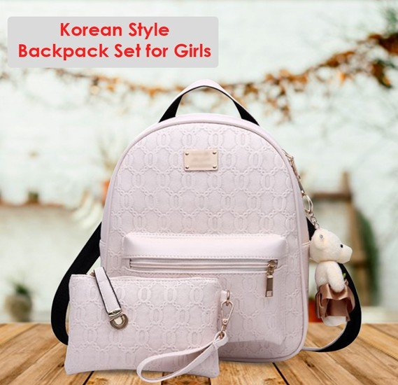 Generic Korean Style 2 Pieces White Backpack Set For Girls