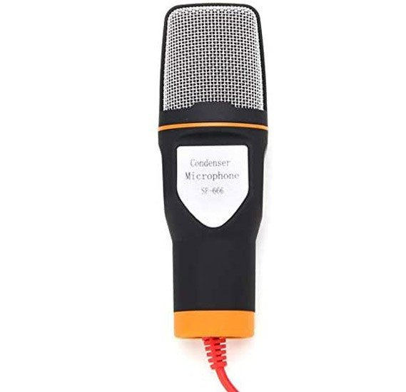 Portable Wired Stereo Condenser Microphone SF666 with Mic Stand Hoder Clip for Laptop and PC