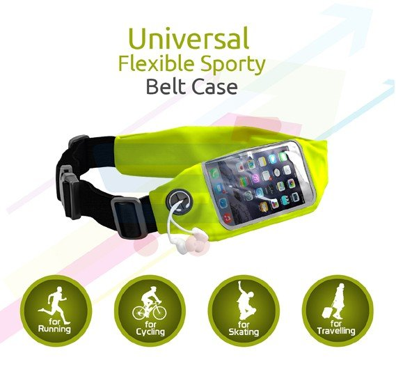 Promate Sports Running Belt Waist Pack with Touch Screen Window for Smartphones, LIVEBELT-2.GREEN