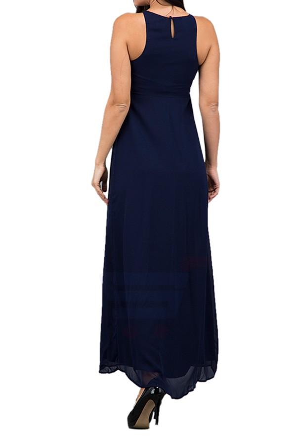 TFNC London Elanor Emb. Detailed Maxi Dress Navy - EB 11728 - L