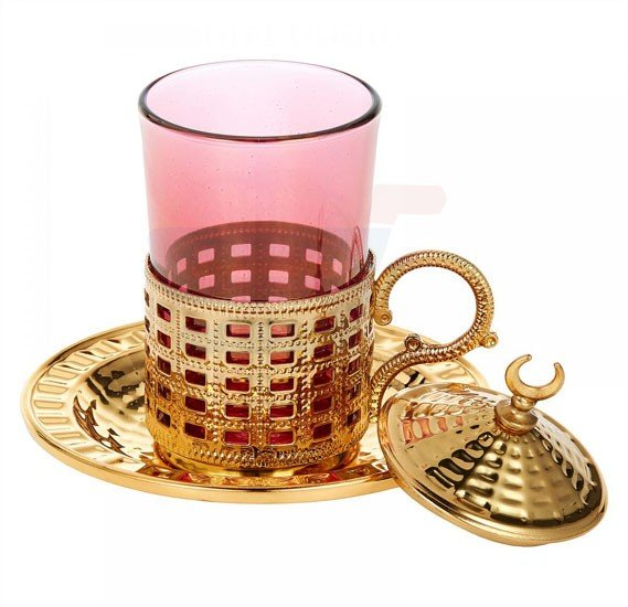 Dalgic Pink Authentic Glass Tea Set with Oval Tray