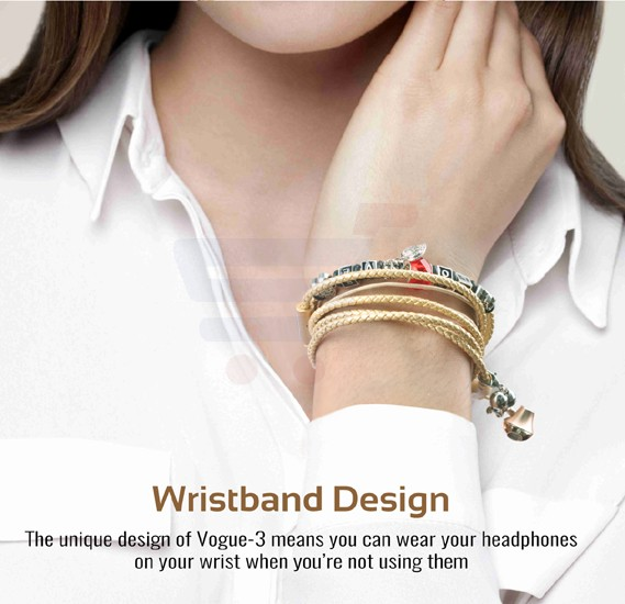 Promate Wristband Earbuds, Premium 3.5mm Leather Braided Pandora Beads Bracelet Style with Built-in Mic, Tangle Free Cord, Noise Cancelling and Magnetic Closure for Smartphones, Tablets, iPod, MP3, Laptop, Vogue-3.Gold