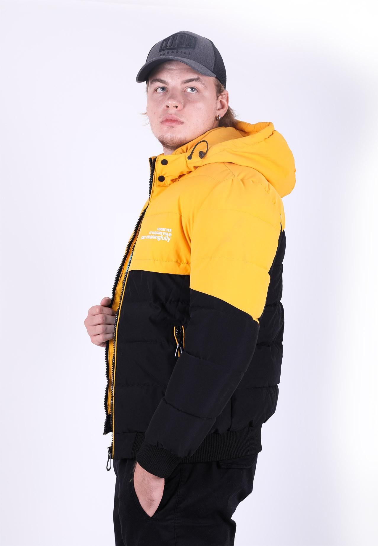Kenyos Mens Winter Jacket Black and Yellow
