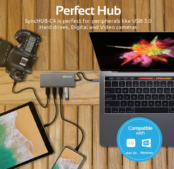 Promate USB Type-C Hub, Ultra-Sleek Aluminum Type-C Adapter to 4 Port USB 3.0 Sync and Charge Port with 5Gbps High-Speed Data Transfer Speed for MacBook Pro, Chromebook, HP Spectre, SyncHub-C4.Grey