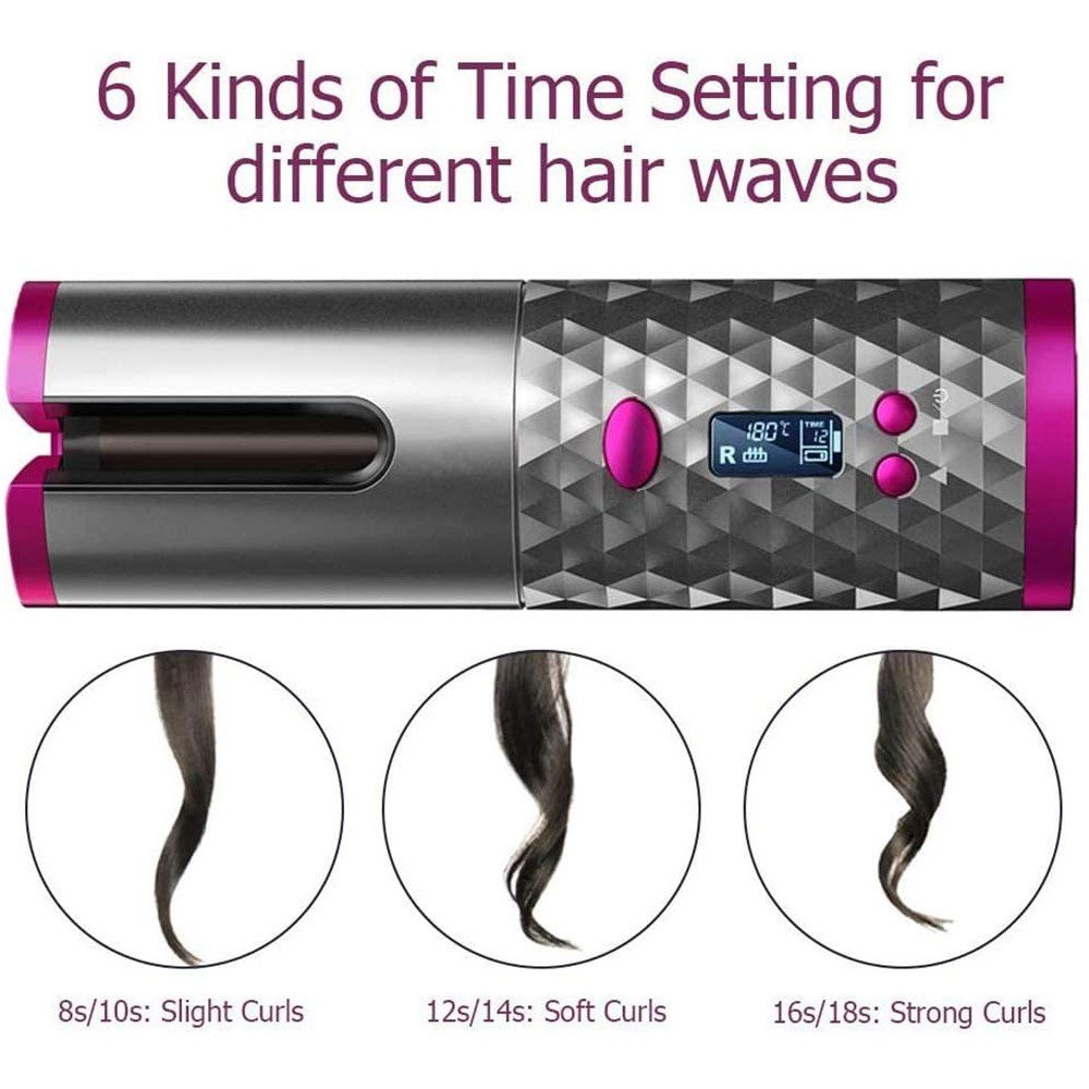Rechargeable Wireless Automatic Curler with Temperature Control
