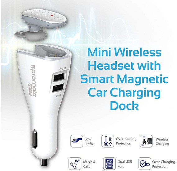 Promate Bluetooth Headset Car Charger, Mini Wireless Headset with Magnetic Car Charging Dock and 3.4A Dual USB Port for Smartphones and Tablets - Aria-2 White