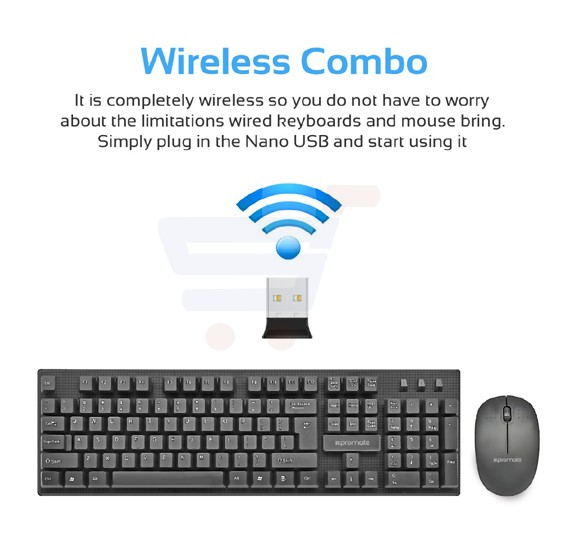 Promate Keyboard and Mouse Combo, Super-Slim Typewriter Styled 2.4Ghz Wireless Full-Sized Keyboard and Mouse Combo with Silent Keys and Auto Sleep for PC, Windows, Mac iOS, Laptops, KeyMate-3.BLK/AE