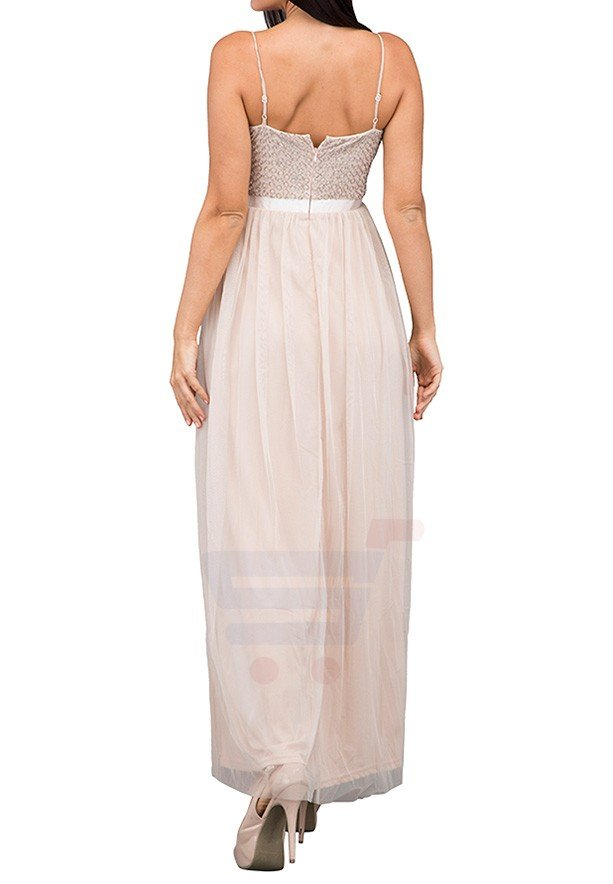 TFNC London Garnet Maxi Evening Dress Nude - LNB 50470 - XL
