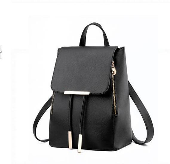 Korean version fashion double shoulder bag Backpack Black WB15