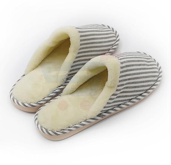 Faux Fur Winter Slippers black Stripes