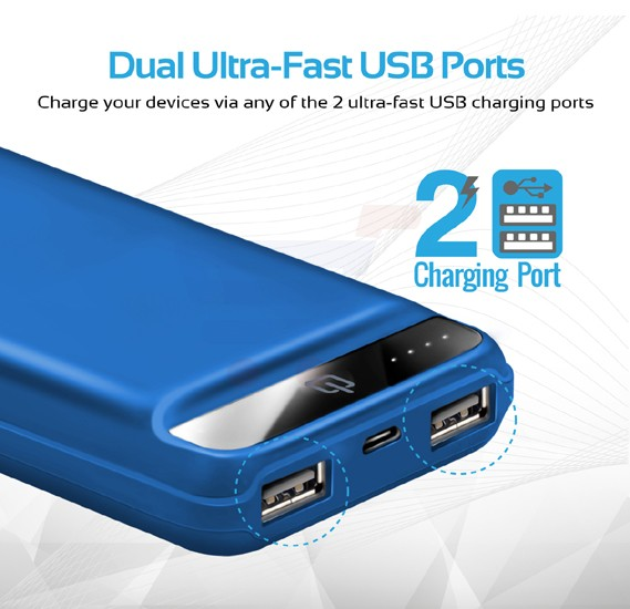 Promate Power Bank, Ultra-Compact 20000mAh Portable charger with Ultra-Fast Charging Dual 2.4A USB Port and Over Charging Protection for Smart Phones, Tablets, iPod, iPad, Quantum-20.Blue