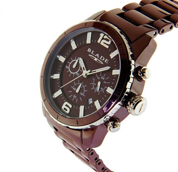 Blade Mens Ceracro 44mm Brown Ceramic Case and Band Stainless Steel Bezel Chronograph Watch, 3572G3SOO
