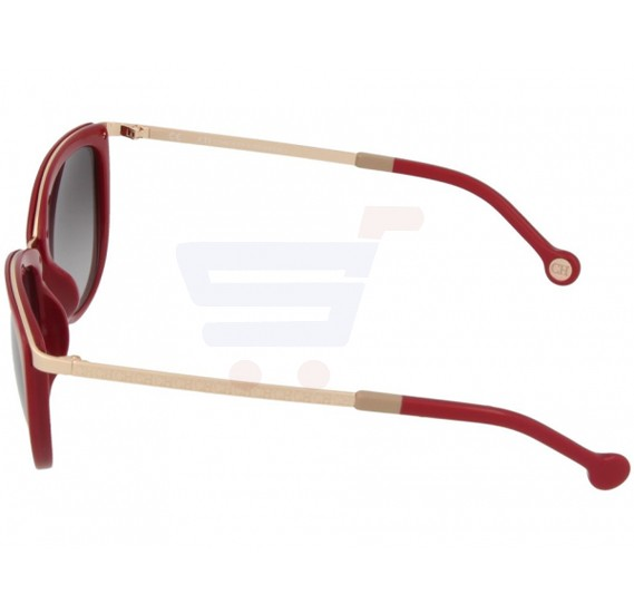 Carolina Herrera Cateye Red Frame & Shiny Gunmetal Mirrored Sunglasses For Women - SHE046-300F