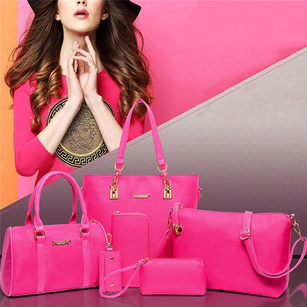 Womens 6 Pcs PU Leather Composite Fashion Hand Bag Set Pink
