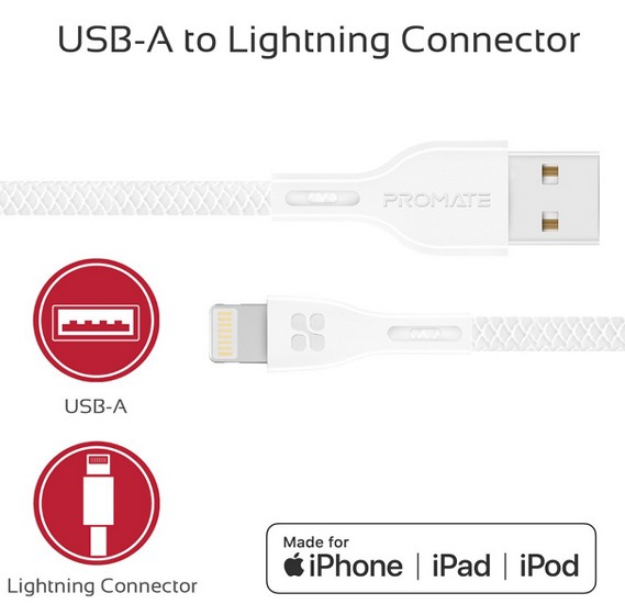 Promate Lightning Cable, Ultra-Strong 2A Ultra- Fast Sync and Charge Lightning Connector Cable with 1.2 Meter Tangle-Free Cord and Over-Charging Protection for iPhone XS, XS Max, XR, iPad, iPod, PowerBeam-I White