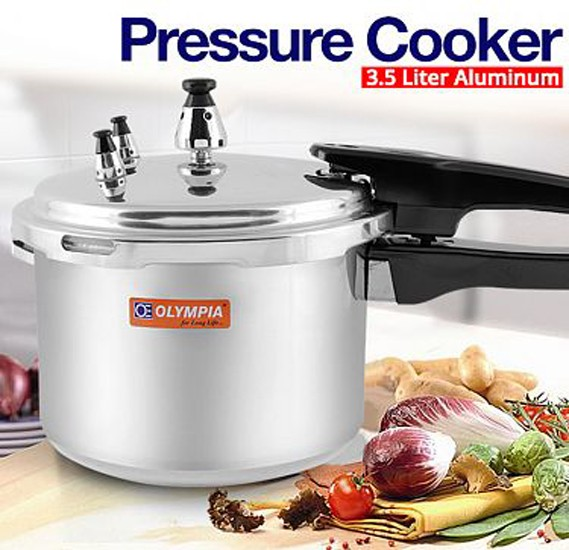 Olympia 3.5 Liter Aluminum Pressure Cooker, OE-132
