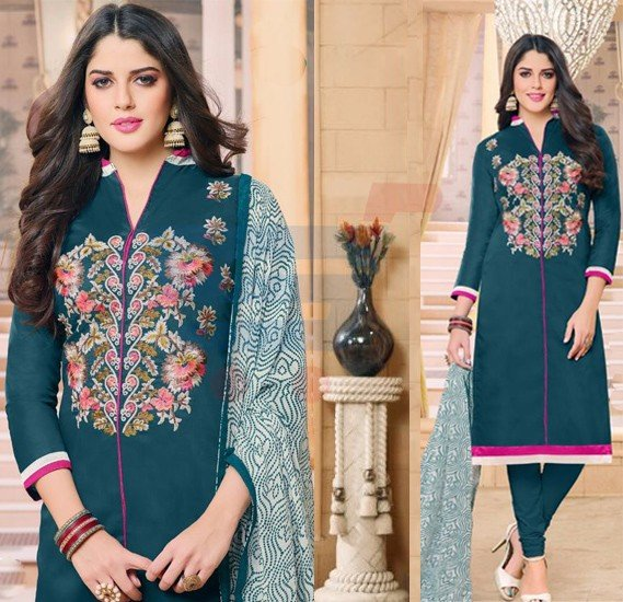 Dairy Milk Chanderi Cotton Naznin Printed Dress Material-DM212