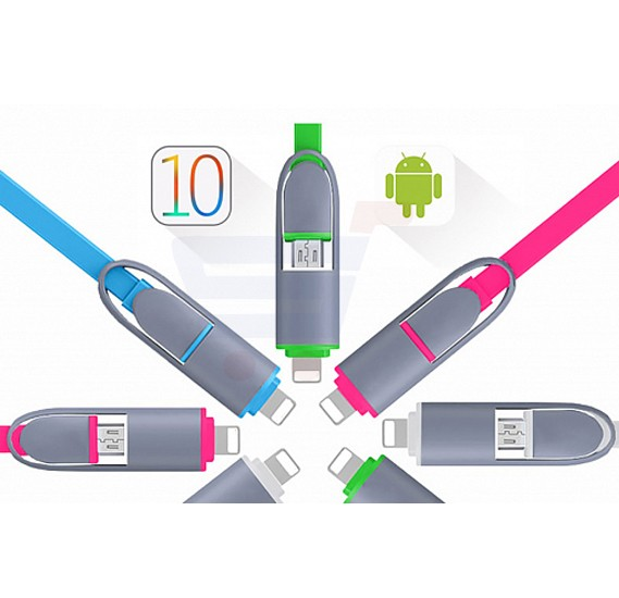 Multi-Color 2 In1 Micro USB & Lightning To USB Data Charging Cable For Android & iOS Devi