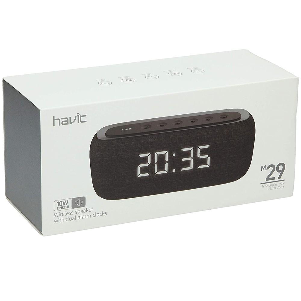 Havit M29 Fabric Speaker V4.2 Bluetooth Speakers With Alarm Clock, Black