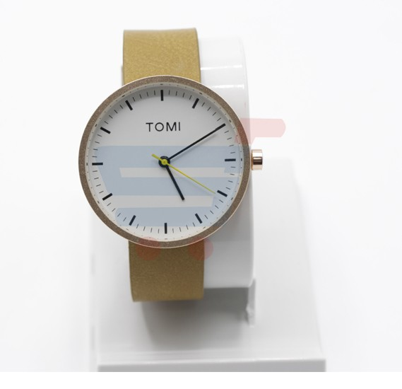 Tomi Analog Quartz Creative Leather Band Wrist Watch for Men and Women T066, White Brown