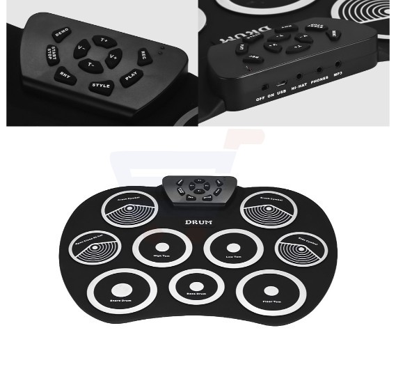 Roll-up Electronic Drum Kits 9 Silicon Pads Roll Up Drum Kit USB Powered  with Foot Pedals Drumsticks USB Cable