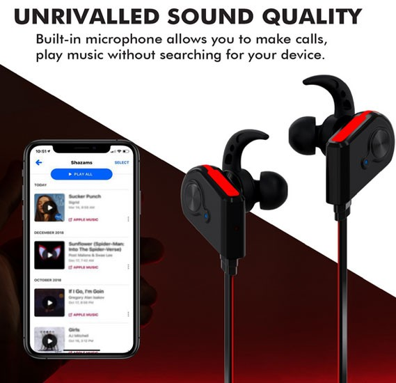 Promate Bluetooth Earphones, Wireless Bluetooth 4.1 Magnetic Earphones, Fluid.Red