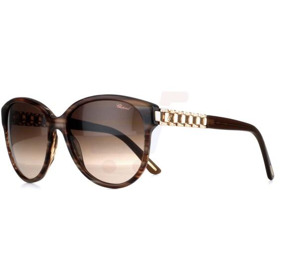 Chopard Round Havana Frame & Brown Mirrored Sunglass For Women - SCH150S-0794