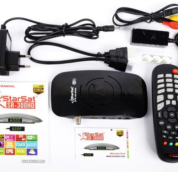 StarSat SR300 HD Long range Wifi Satellite Receiver - Black, 300 Black