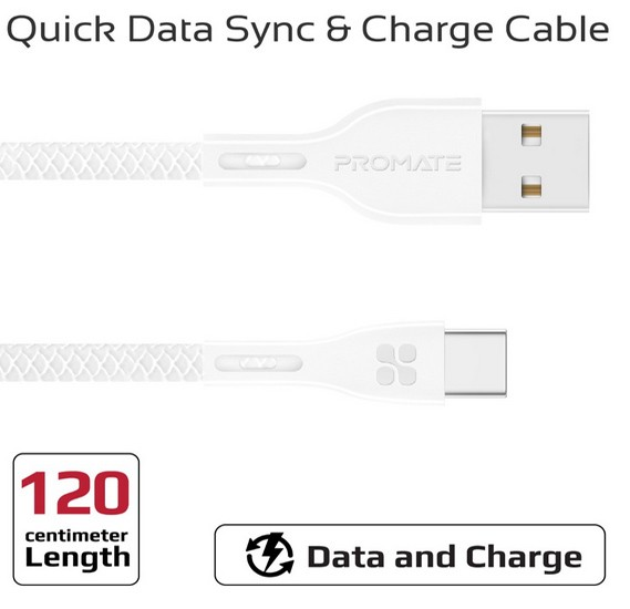 Promate USB-C to USB-A Cable, Durable 2A Ultra-Fast Charging Cable with High-Speed Data Transfer, Over-Charging Protection, 1.2m Cord Length and Over-Charging Protection for Type-C Enabled Devices, PowerBeam-C White