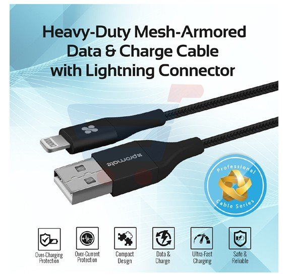 Promate Lightning Cable, Heavy Duty Mesh-Armored USB to Lightning Sync and Charge Cable with Short-Circuit Protection Cable-LTF.BLACK, Black