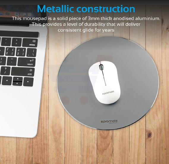 Promate Mouse Pad, High-Quality Ergonomic Aluminium Mouse Pad with Non-Slip Rubber Base and Anti-Stain High Accuracy Optimized Tracking for iMac, MacBook Pro, Laptops, PC, Any Optical Laser Mice, MetaPad-1.Grey
