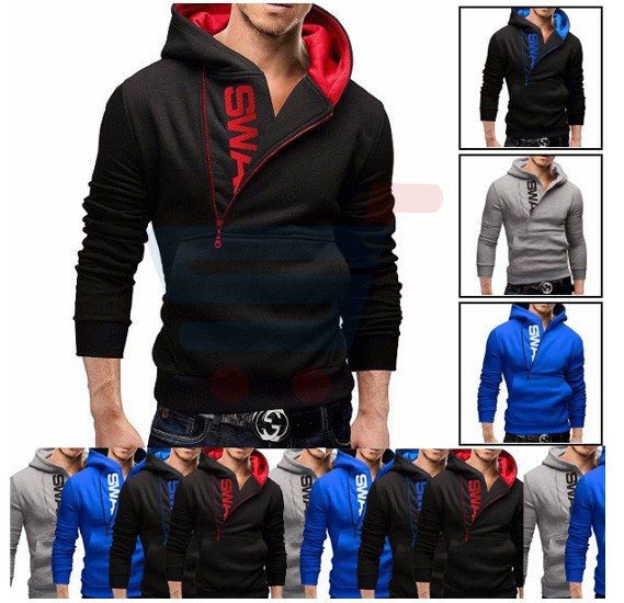 Mens SWAG Hoodie Casual Design Fashion Coat Black and Red (Xtra Large) - 1526