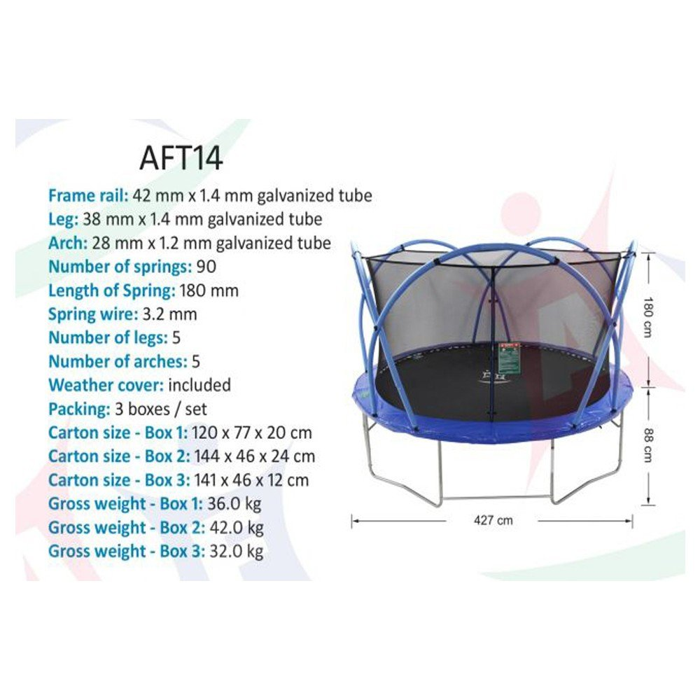 Active Fun 14FT Trampoline With Enclosure Cover And Ladder, AFT14