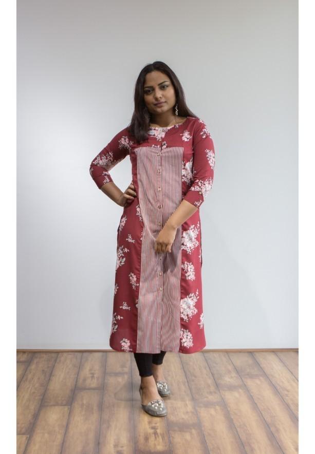 Buy 2 Ruky Fareen Women Long Top Flair Kurti Full Sleeve RF 209, 210 and Get RF 211 M