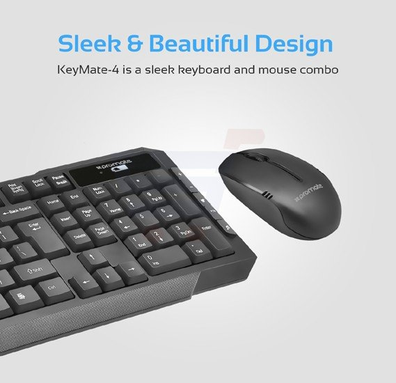 Promate Keyboard and Mouse Combo, Ergonomic Quiet Touch Key USB Wireless Keyboard with Multimedia Keys and Cordless Optical Mouse Combo Desktop for PC, Windows, Mac iOS, Laptops, KEYMATE-4.BLK/E