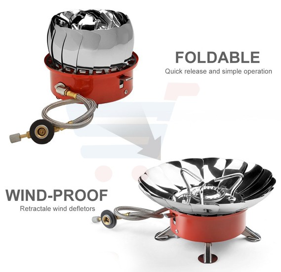 Windproof Camping Stove - Backpacking Gear, Collapsible Portable Outdoor Camping Gear, Propane Gas Burner with Electronic Ignition for Camping, Hiking, Hunting Outdoor Activities