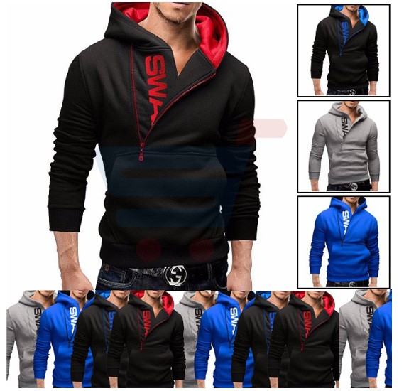 Mens SWAG Hoodie Casual Design Fashion Coat Black and Blue (Xtra Large) - 1526