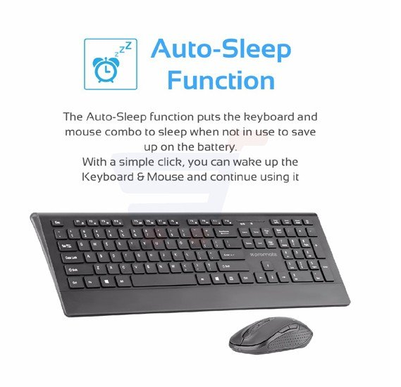 Promate Wireless Keyboard and Mouse, Ergonomic Ultra-Slim 2.4GHz Cordless Combo Keyboard and 5 Button DPI Mouse with Wrist Rest Panel and Auto-Sleep Function for Desktop, PC, Windows, iOS, PROCOMBO-4.BLK/E