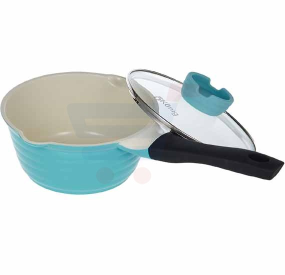 OKonig Ceramic Bio and Eco Sauce Pan with lid 18 cm, Blue