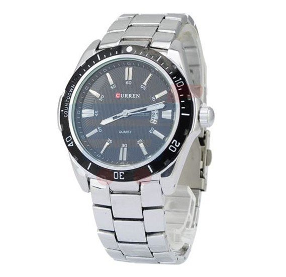 Curren Stainless Steel With Black Dial Mens Watch, -M 8110