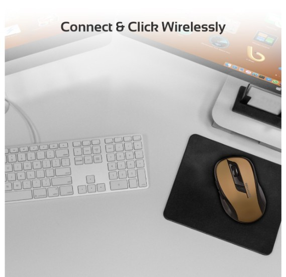 Promate Wireless Mouse, 2.4Ghz Portable Optical Wireless Mouse with USB Nano Receiver, 3 Adjustable DPI, 6 Buttons, 10m Working Range and Auto-Sleep Function for PC, Laptop, MacBook, Clix-7 Gold