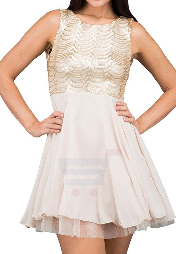 TFNC London Breena Flare Party Dress Gold - CTT 29970 - L