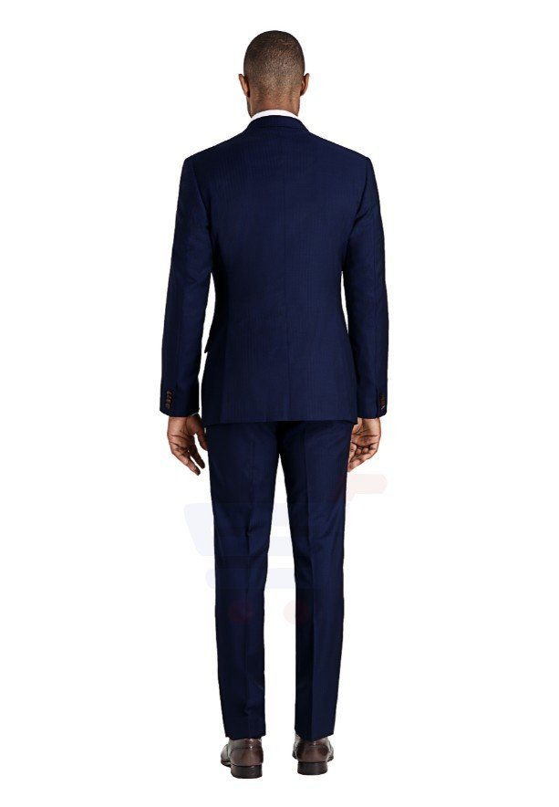 D & D Persian Blue Herringbane Suit - 55012 - XL - 40